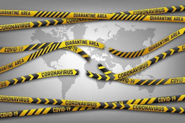 Fin de la cinta y mapa de cuarentena de coronavirus