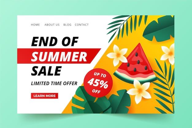 Fin de la página de inicio de venta de verano ilustrada