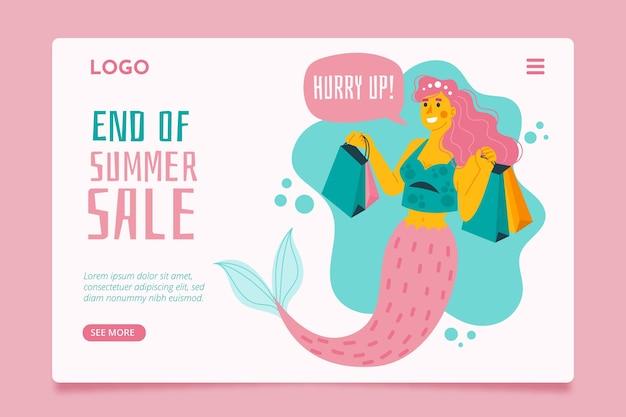 Fin de la página de inicio de venta de verano con sirena ilustrada