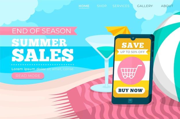 Fin de la página de inicio de venta de verano con teléfono inteligente ilustrado