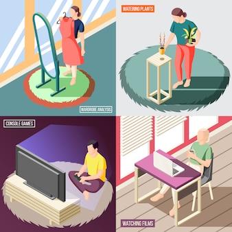 Fin de semana en casa concepto isométrico personas durante el análisis de vestuario plantas de riego viendo películas juegos aislados