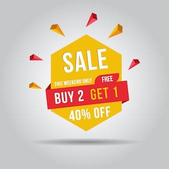 Este fin de semana solo compra 2, obtén gratis 1 banner de venta, 40% de descuento. ilustración vectorial