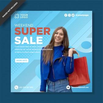 Fin de semana super venta social media post vector design