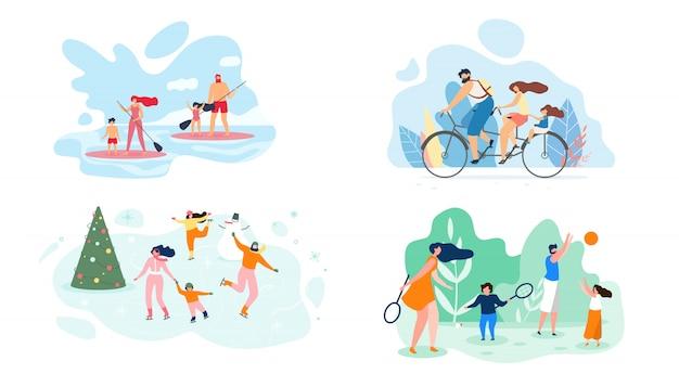 Fin de semana de verano en el río toda la familia vector plano