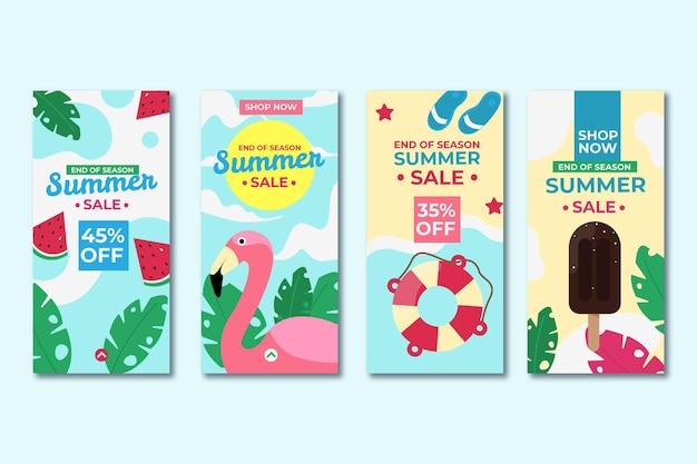Fin de temporada colección de historias de instagram de rebajas de verano