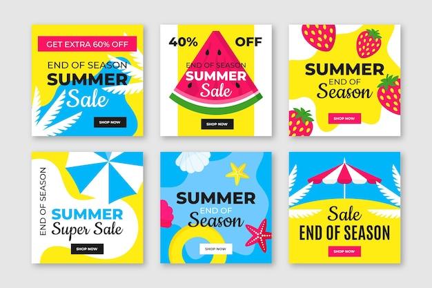 Fin de temporada venta de verano instagram post pack