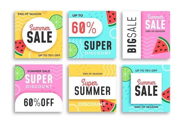 Fin de la temporada venta de verano instagram template post pack