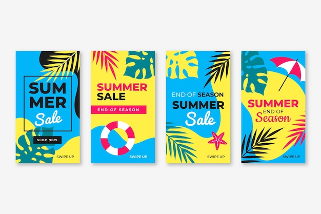 Fin de temporada venta de verano paquete de historias de instagram
