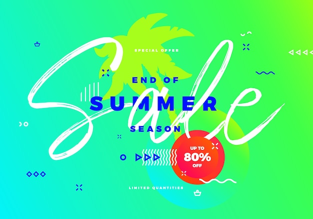 Fin de la venta de la temporada de verano, banner tropical con palmera