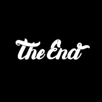 El final escrito a mano letras en negro.