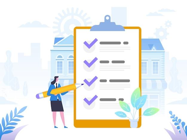 Finalización exitosa de tareas comerciales. la empresaria positiva con un lápiz gigante en el hombro cerca de la lista de verificación marcada en un papel de tablero. plano