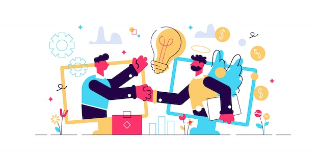 Financiación empresarial, inversión en iniciativas, financiación de ideas. inversor ángel, apoyo financiero de inicio, concepto de ayuda de profesionales de negocios. ilustración aislada violeta vibrante brillante