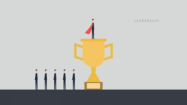 Financiación de las empresas. concepto de liderazgo, gestiona el crecimiento financiero. diseño plano de ilustración