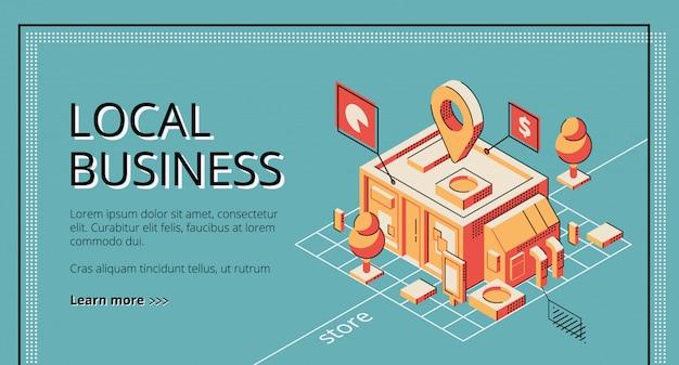 Financiación de empresas locales, servicio de préstamo, banner web isométrico, plantilla de página de destino.