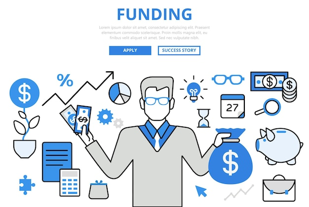 Financiamiento de los iconos del arte de línea plana del concepto de inversión empresarial financiera del inversor