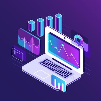 Financie las cartas isométricas 3d del análisis de mercado en el ordenador portátil de la tableta del negocio.
