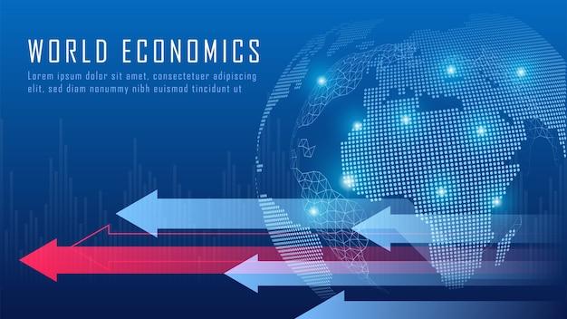 Financiero global en concepto gráfico adecuado para inversión financiera global o idea de negocio de tendencias económicas y diseño de todas las obras de arte. fondo abstracto de finanzas.