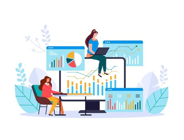 Finanzas análisis de negocios inversión satistics información de gestión web adstract ilustración