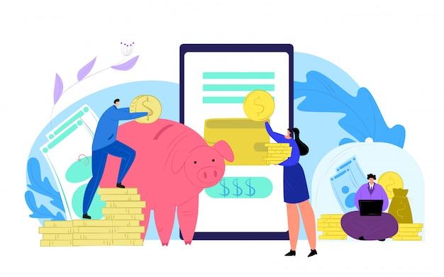 Finanzas dinero ahorro y smartphone banco concepto ilustración. banca móvil financiera, ahorro de efectivo de personas. moneda dólar en hucha, servicio de aplicación de presupuesto económico.
