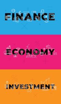 Finanzas, inversión, economía, azul, naranja, rosa, plano de fondo, conceptual, visualización, palabras, vector