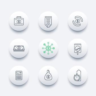 Finanzas, inversiones, análisis de inversiones, línea alrededor de iconos modernos,
