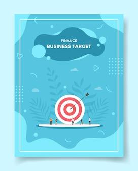 Finanzas negocio objetivo personas alrededor de flecha objetivo tablero tiro con arco precisión para plantilla Vector Premium