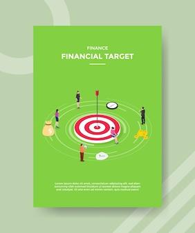 Finanzas objetivo financiero personas alrededor del tablero de destino de flecha de precisión