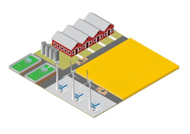 Finca isométrica de edificios rurales.
