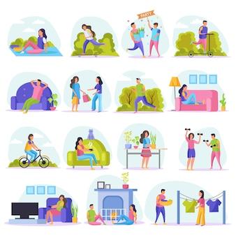 Los fines de semana perezosos personas conjunto de iconos planos con personas en reposo ven televisión sentarse en el sofá de compras en el parque y otra ilustración