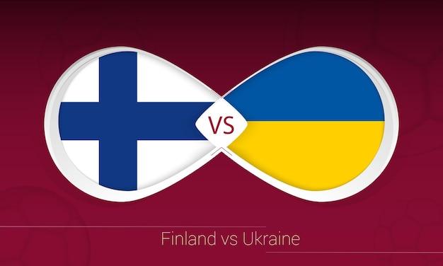 Finlandia vs ucrania en la competición de fútbol, grupo d. versus icono sobre fondo de fútbol.