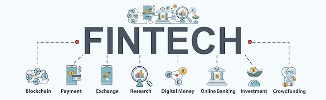 Fintech -financial tecnología banner web icon set