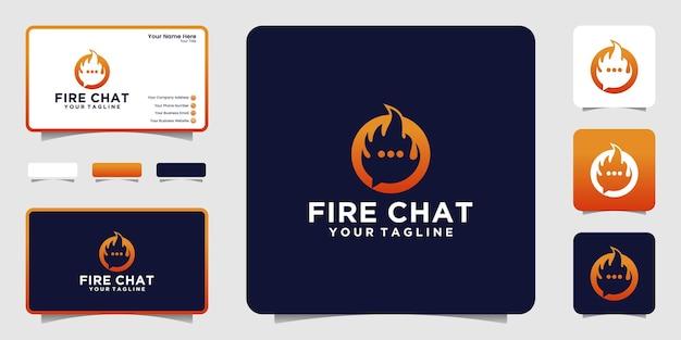 Fire and chat, flame talk diseño de logotipo y tarjeta de presentación