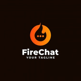Fire and chat, flame talk logo design