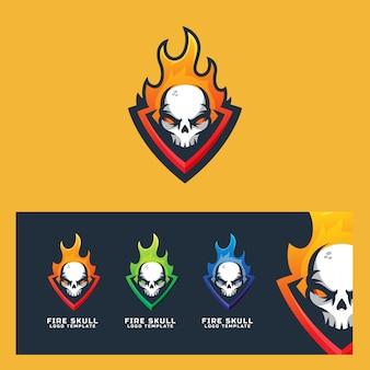 Fire skull logo plantilla deporte moderno
