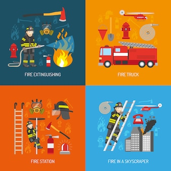 Fireman concept 4 iconos planos cuadrados