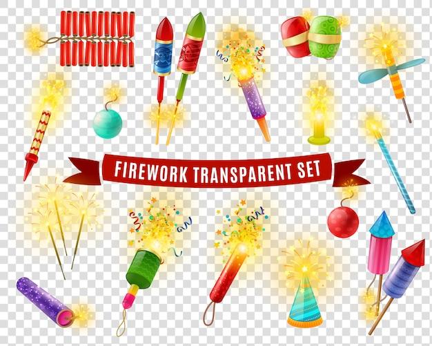 Firework sparlers conjunto de fondo transparente de petardos
