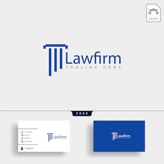 Firma de abogados, plantilla de logotipo creativo defensor con tarjeta de visita