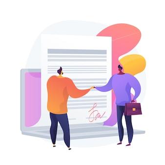 Firma de acuerdos digitales. documento en línea, firma de contrato, trato comercial informatizado. empresario, socios mediante firma electrónica. ilustración de metáfora de concepto aislado de vector