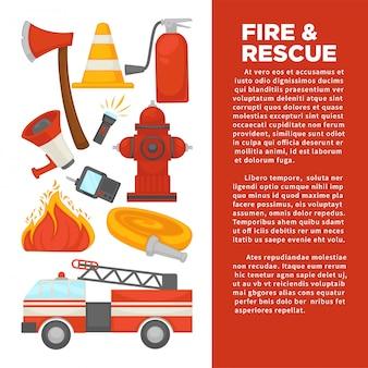 Firma de bomberos y cartel de protección segura contra incendios de herramientas de equipos de extinción de incendios.