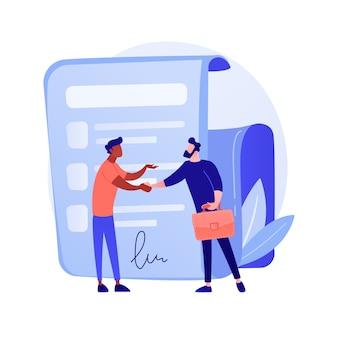 Firma de contrato. documento oficial, acuerdo, compromiso de trato. personajes de dibujos animados de hombres de negocios dándose la mano. contrato legal con ilustración de concepto de firma