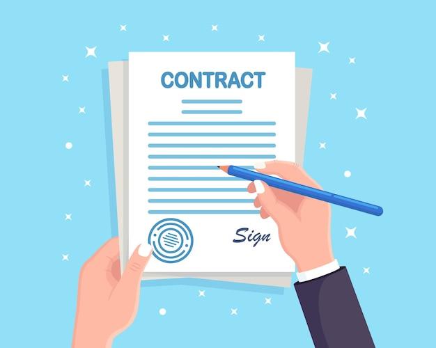 Firma de contrato. lápiz y documentos de mano de hombre