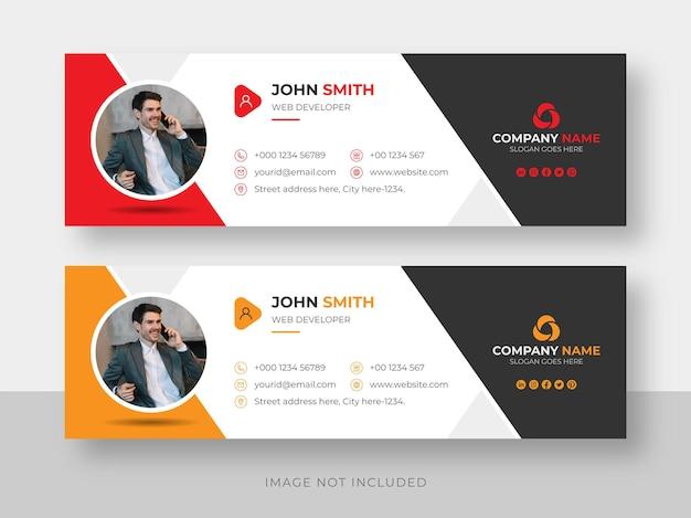 Firma de correo electrónico o pie de página de correo electrónico y plantilla de diseño de portada de facebook de redes sociales personales
