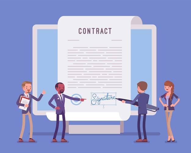 Firma de documento electrónico, página de contrato en pantalla