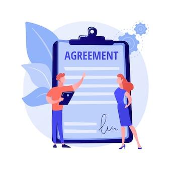 Firma de documentos. acuerdo de asociación, consulta comercial, acuerdo de trabajo. cliente y asistente escribiendo personajes de dibujos animados por contrato.