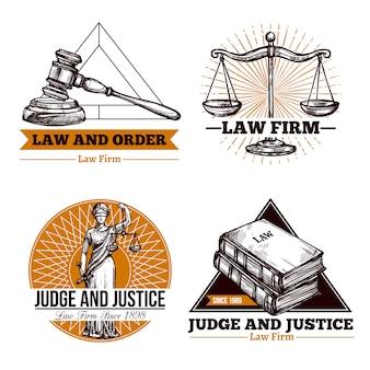 Firma legal y conjunto de logo de oficina