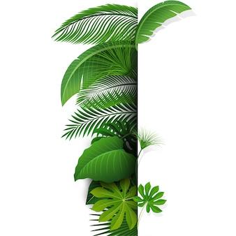 Firmar con espacio de texto de hojas tropicales