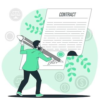 Firmar una ilustración del concepto de contrato