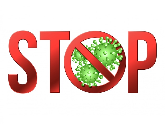 Firme la precaución detenga covid-19 con el icono de coronavirus ...
