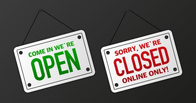 Firme en la tienda de la puerta con entrar estamos abiertos. banner negro abierto o cerrado de negocios. ilustración vectorial.