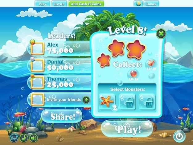 Fish world: nivel de ventana completo para juego web de computadora